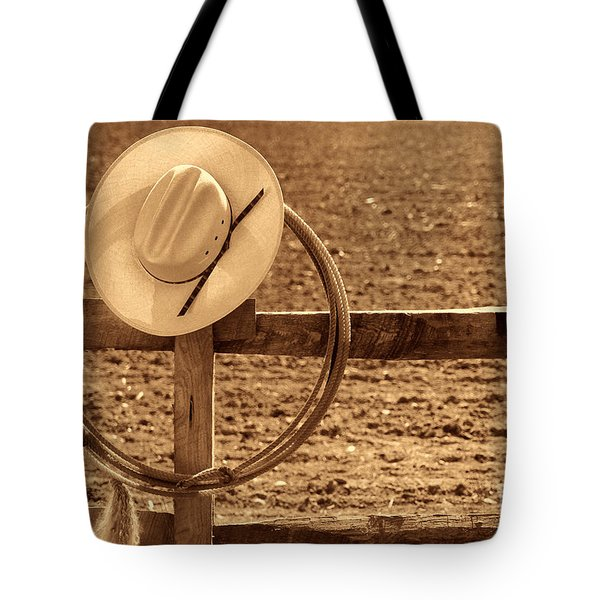 Hat And Lasso On A Fence Tote Bag