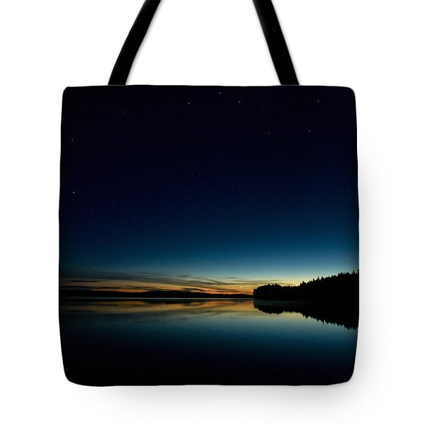 Tote Bag featuring the photograph Haukkajarvi By Night With Ursa Major 1 by Jouko Lehto