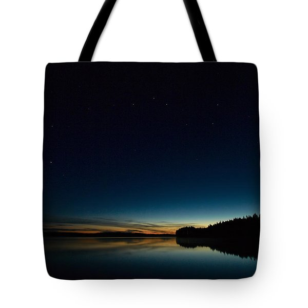 Tote Bag featuring the photograph Haukkajarvi By Night With Ursa Major 2 by Jouko Lehto
