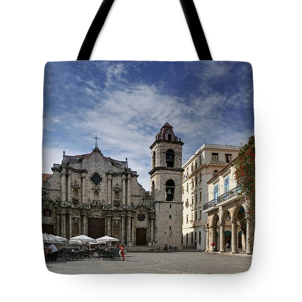 Havana Cathedral. Cuba Tote Bag by Juan Carlos Ferro Duque
