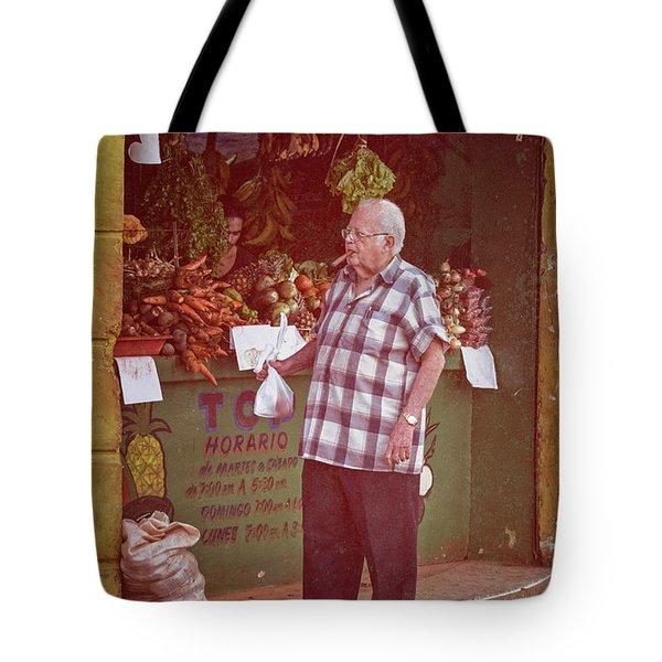 Tote Bag featuring the photograph Havana Cuba Corner Market by Joan Carroll