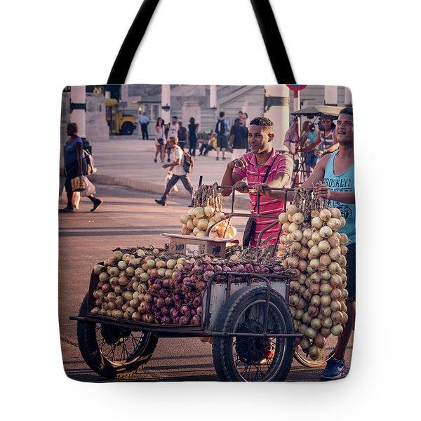 Tote Bag featuring the photograph Havana Cuba Onion Cart by Joan Carroll