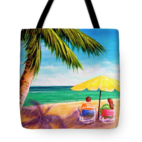 Hawaii Beach Yellow Umbrella #470 Tote Bag by Donald k Hall