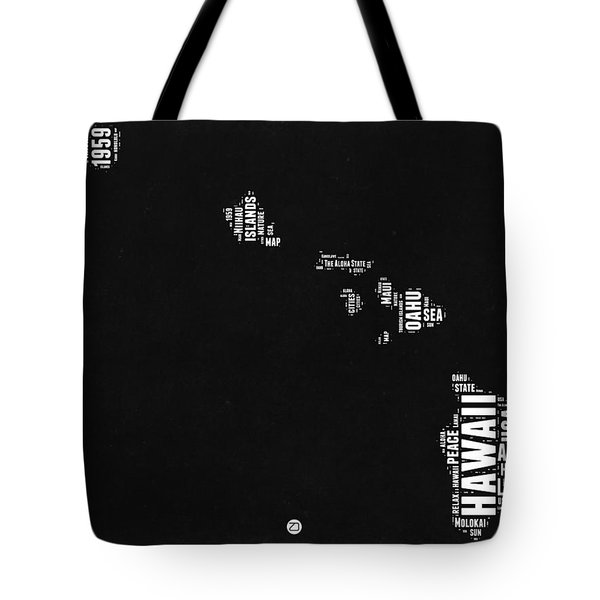 Hawaii Black And White Map Tote Bag