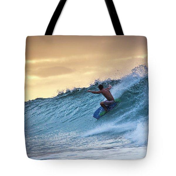 Hawaii Bodysurfing Sunset Polihali Beach Kauai  Tote Bag
