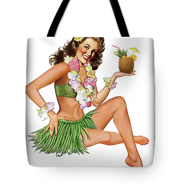 Hawaii, Hula Girl Posing With Exotic Pineapple Cocktail Tote Bag