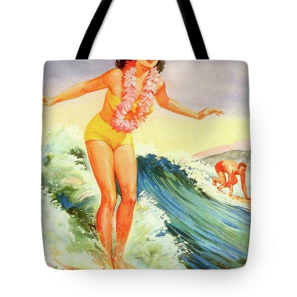 Hawaii, Hula Girl Surf Tote Bag