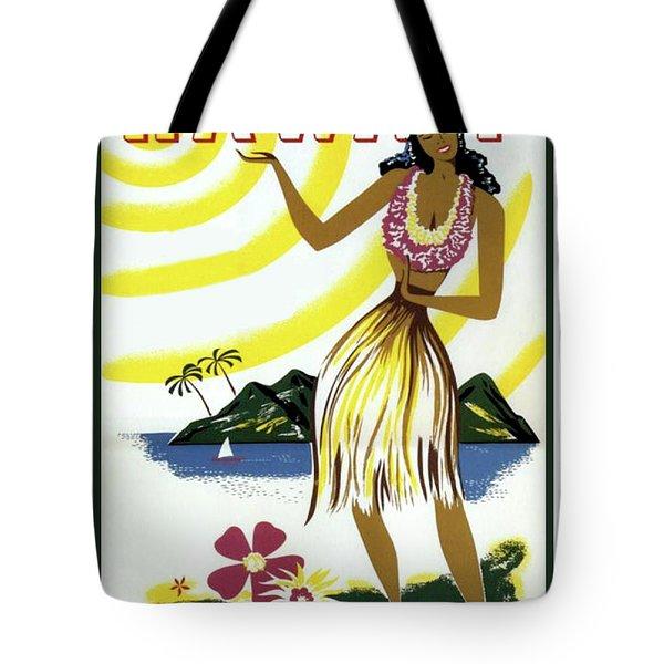 Hawaii, Hula Girl, Tropic Beach, Travel Poster Tote Bag