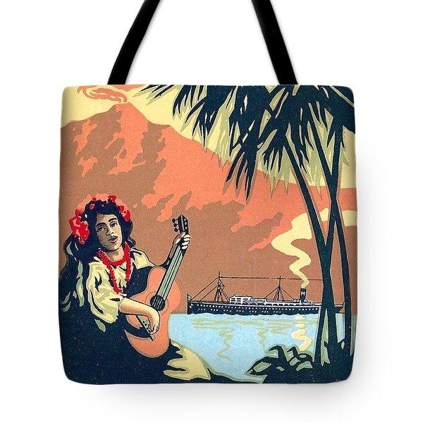 Hawaii, Hula Girl Welcomes Tourist Ship With Traditional Music Tote Bag