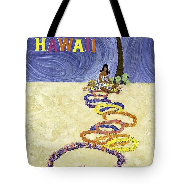 Hawaii, Hula Girl With Exotic Flower Wreaths Under The Palm Tree Tote Bag