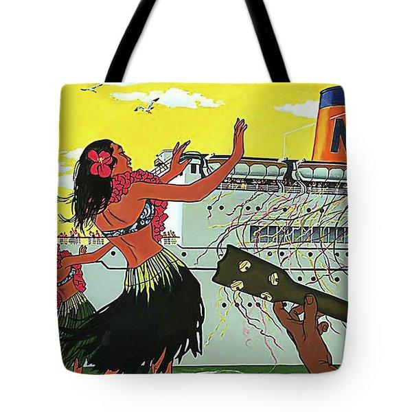 Hawaii, Hula Girls Welcomes Tourist Ship With Traditional Dance And Music Tote Bag
