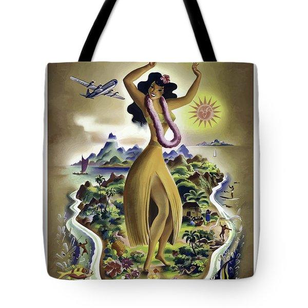 Hawaii Isle, Big Hula Girl Tote Bag