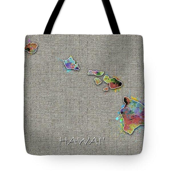 Hawaii Map Color Splatter 4 Tote Bag