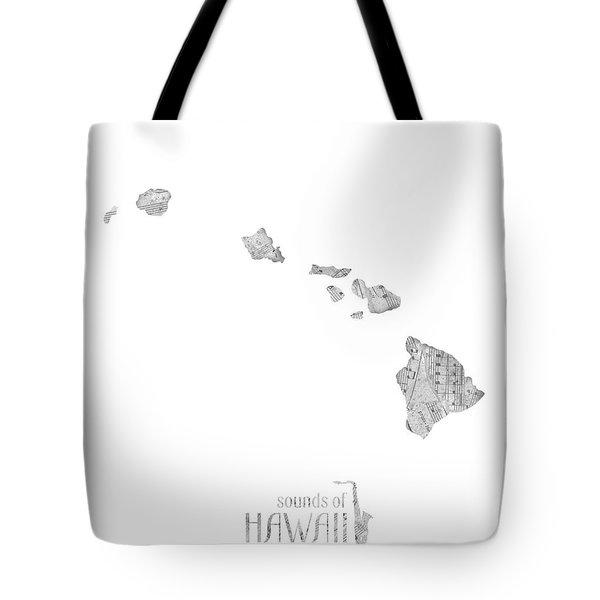 Hawaii Map Music Notes Tote Bag