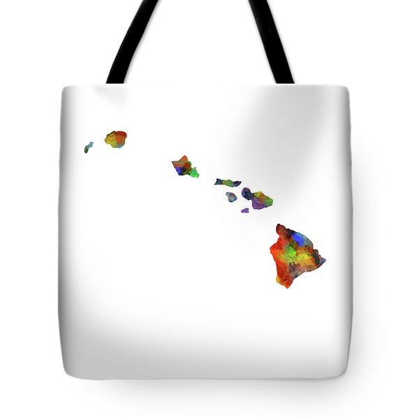 Hawaii Map Watercolor Tote Bag