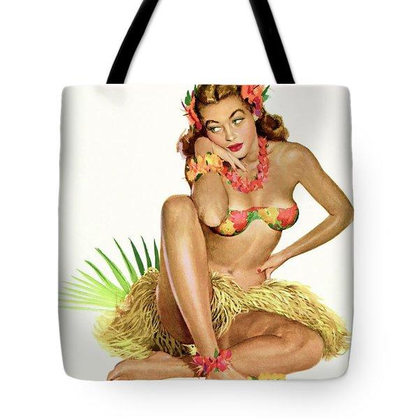 Hawaii, Pin Up Hula Girl In Traditional Costume Tote Bag