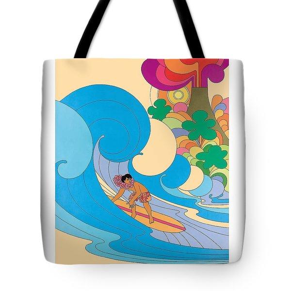 Hawaii Surfer Vintage Hawaiian Travel Poster  Tote Bag