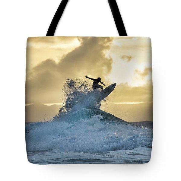 Hawaii Surfing Sunset Polihali Beach Kauai Tote Bag