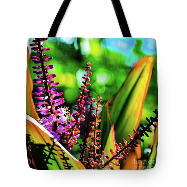 Hawaii Ti Leaf Plant And Flowers Tote Bag