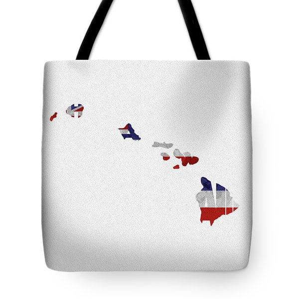 Tote Bag featuring the painting Hawaii Typographic Map Flag by Inspirowl Design