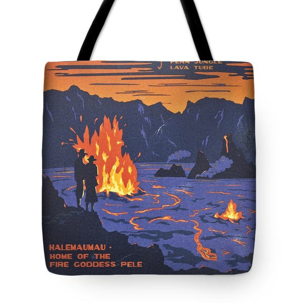 Hawaii Vintage Travel Poster Tote Bag by Georgia Fowler
