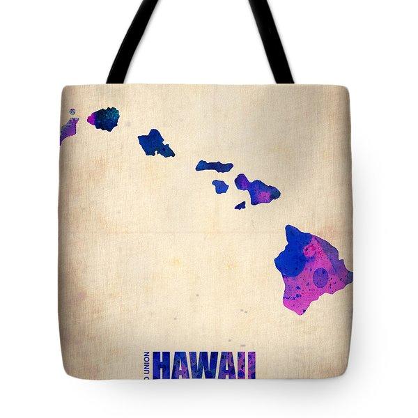 Hawaii Watercolor Map Tote Bag