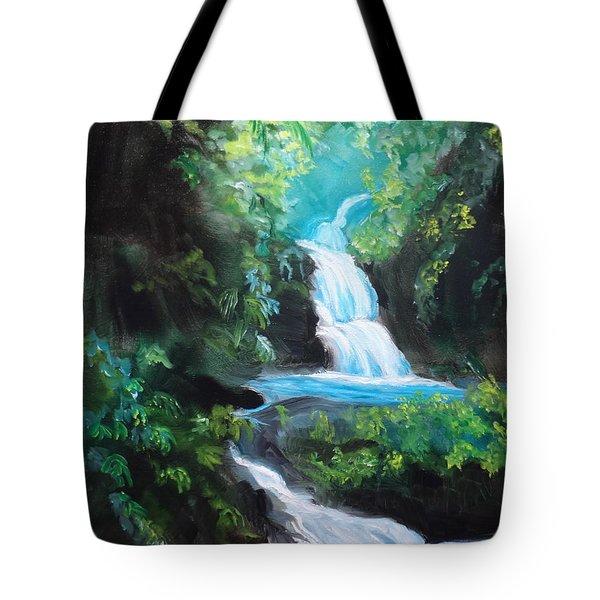 Hawaiian Waterfalls Tote Bag by Jenny Lee
