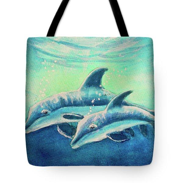 Hawaiian Dolphins  #389 Tote Bag by Donald k Hall