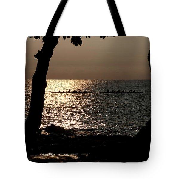 Hawaiian Dugout Canoe Race At Sunset Tote Bag