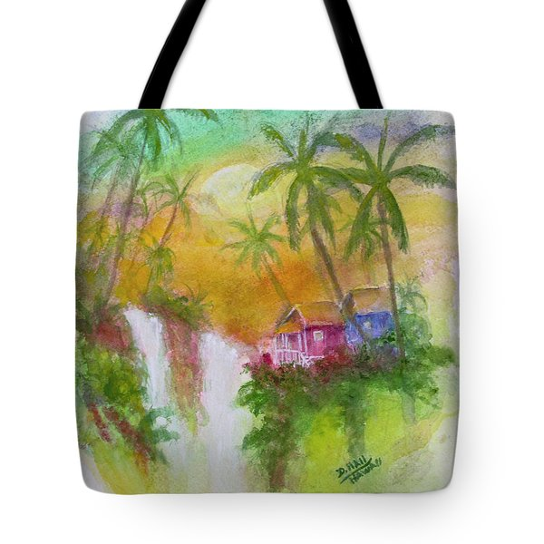 Hawaiian Homestead In The Valley #460 Tote Bag by Donald k Hall