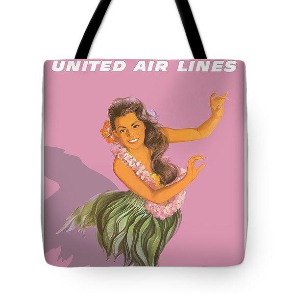Hawaiian Hula Dancer United Air Lines Vintage Hawaiian Travel Poster Tote Bag