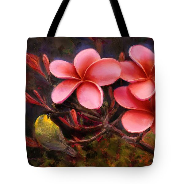 Tote Bag featuring the painting Hawaiian Pink Plumeria And Amakihi Bird by Karen Whitworth
