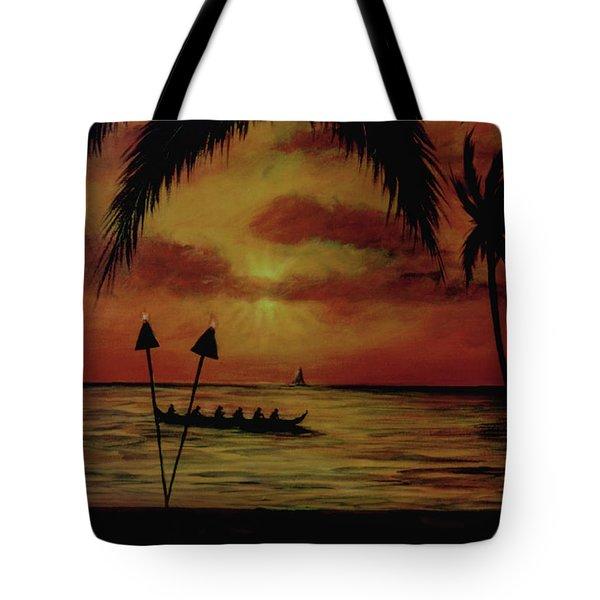 Hawaiian Sunset Paddlers #283 Tote Bag by Donald k Hall