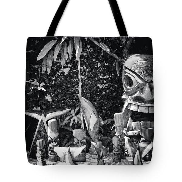 Tote Bag featuring the photograph Hawaiian Tiki Carvings by Sharon Mau