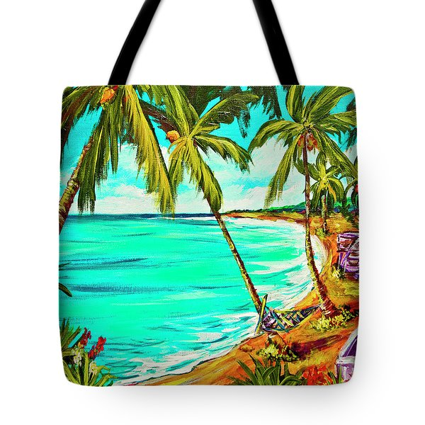 Hawaiian Tropical Beach #355 Tote Bag by Donald k Hall