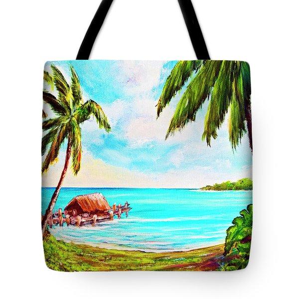 Hawaiian Tropical Beach #388 Tote Bag by Donald k Hall