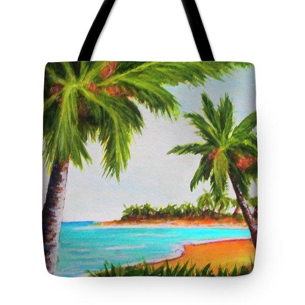 Hawaiian Tropical Beach #429 Tote Bag by Donald k Hall