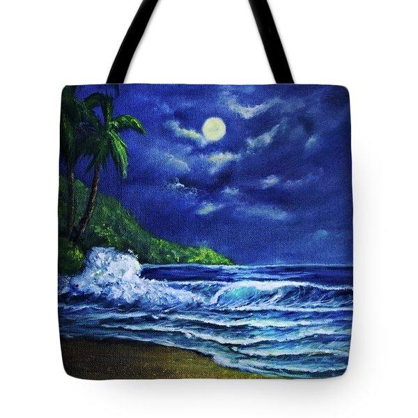 Hawaiian Tropical Ocean Moonscape Seascape #377 Tote Bag by Donald k Hall