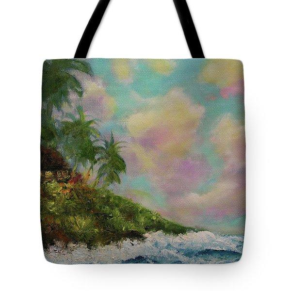 Hawaiian  Twilight Beach Wave Art Print Painting #423 Tote Bag by Donald k Hall