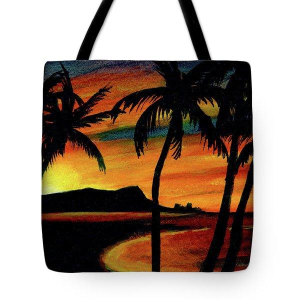 Hawaiian Waikiki Sunrise Over Diamond Head  #266 Tote Bag by Donald k Hall