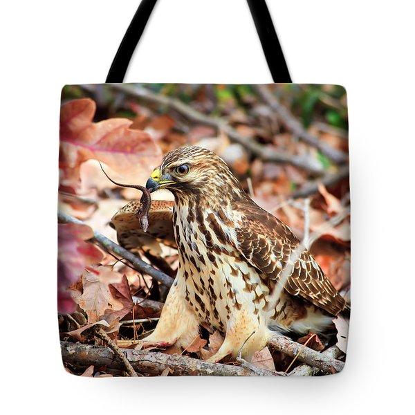 Hawk Catches Prey Tote Bag