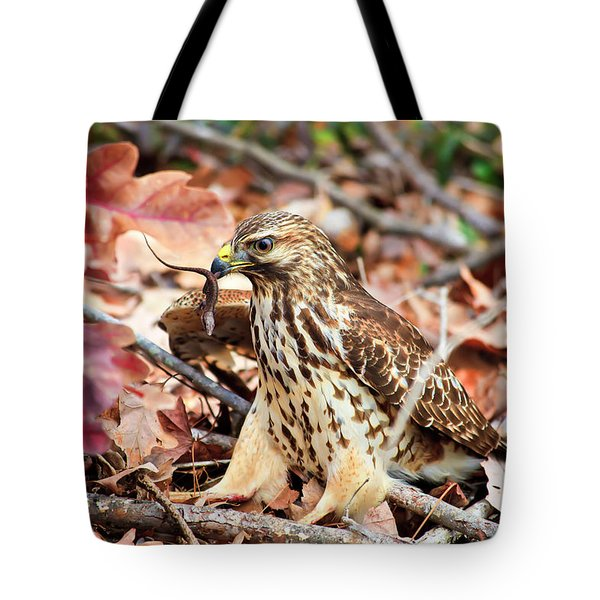 Hawk Catches Prey Tote Bag
