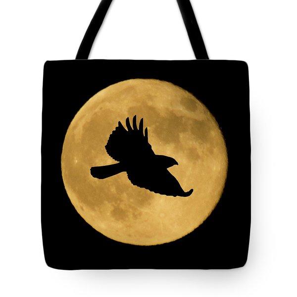 Hawk Flying By Full Moon Tote Bag
