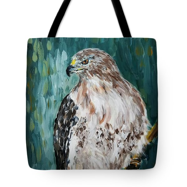Tote Bag featuring the painting Hawk by Maria Langgle