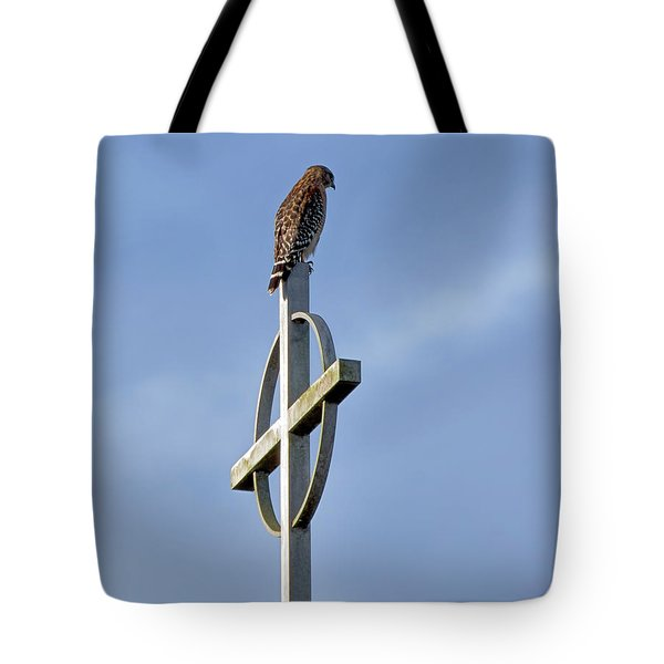Hawk On Steeple Tote Bag by Richard Rizzo