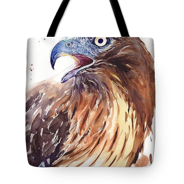 Hawk Watercolor Tote Bag