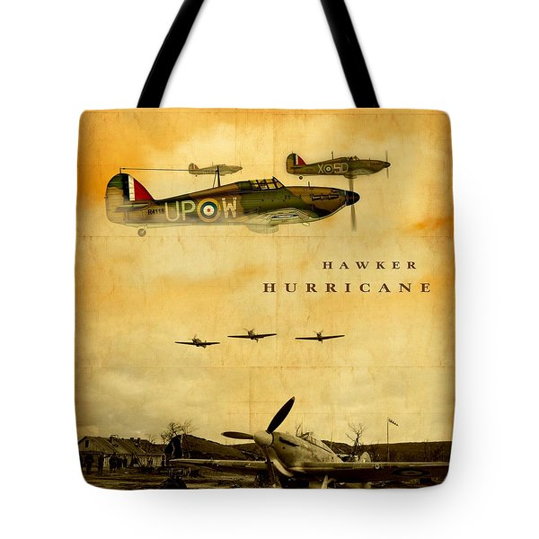 Tote Bag featuring the digital art Hawker Hurricane Raf by John Wills