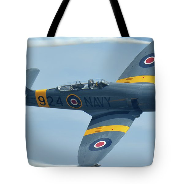 Tote Bag featuring the photograph Hawker Sea Fury T20 N924g Chino California April 30 2016 by Brian Lockett