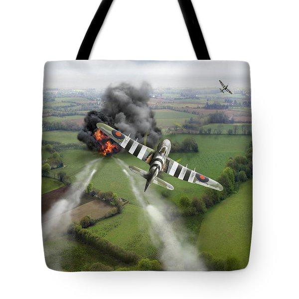 Tote Bag featuring the photograph Hawker Typhoon Rocket Attack by Gary Eason
