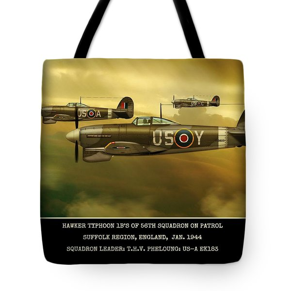 Tote Bag featuring the digital art Hawker Typhoon Sqn 56 by John Wills